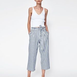 ZARA Striped Cropped Pant